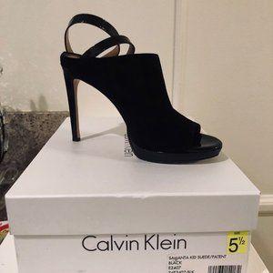 Calvin Klein Black Suede & Leather Booties 5.5